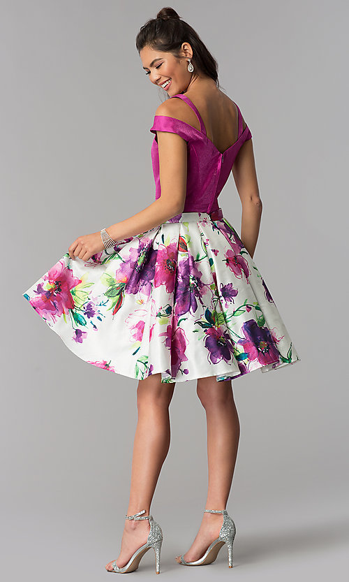 Image of short two-piece floral-print-skirt homecoming dress. Style: DJ-A7034 Detail Image 3