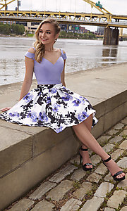 Image of two-piece print-skirt short homecoming dress. Style: DJ-A7154 Detail Image 3