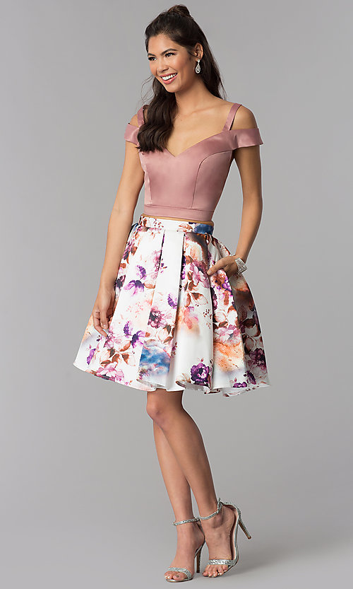 Image of print-skirt two-piece short homecoming dress. Style: DJ-A7155 Detail Image 3