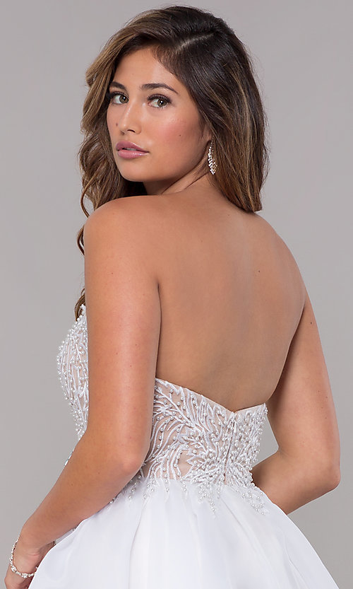 Image of short strapless embroidered-bodice homecoming dress. Style: TI-GL-1811P5100G Detail Image 2