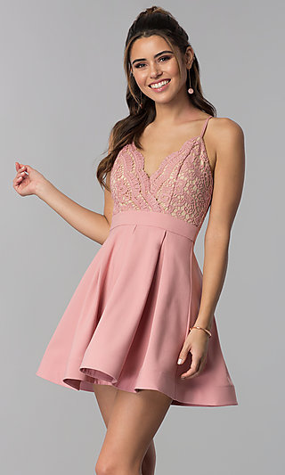 A-Line Lace-Bodice Homecoming Dress by PromGirl