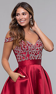 Image of sweetheart cold-shoulder satin homecoming dress. Style: HOW-DA-52430 Detail Image 1