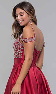 Image of sweetheart cold-shoulder satin homecoming dress. Style: HOW-DA-52430 Detail Image 2
