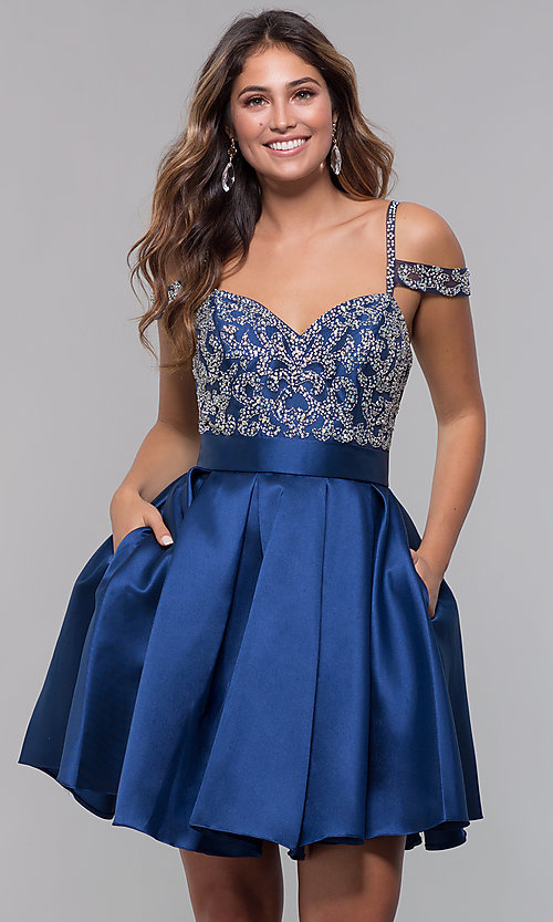Image of sweetheart cold-shoulder satin homecoming dress. Style: HOW-DA-52430 Detail Image 4