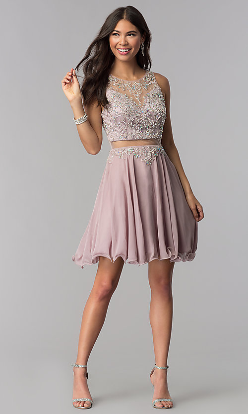 Image of short mock-two-piece homecoming dress by PromGirl. Style: DQ-PL-3052 Detail Image 3