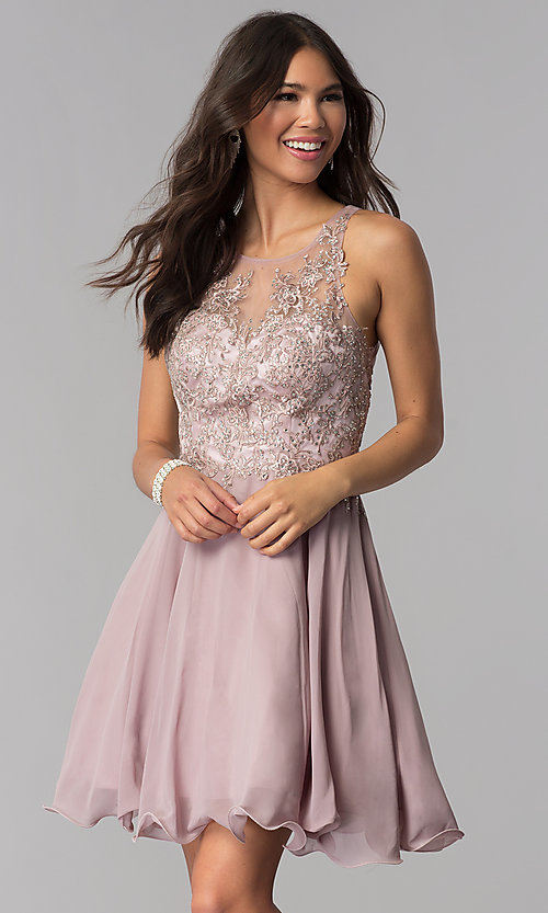 Image of chiffon short homecoming dress by PromGirl. Style: DQ-PL-3054 Front Image