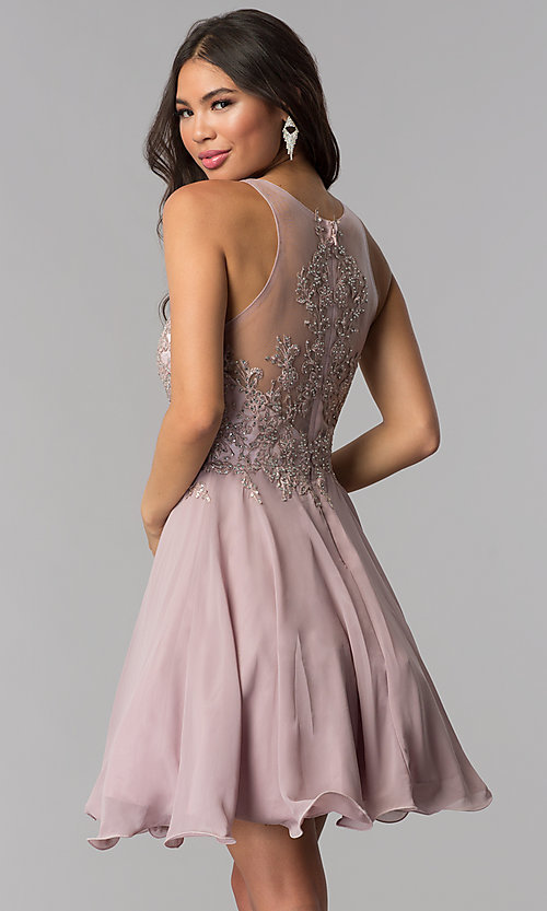 Image of chiffon short homecoming dress by PromGirl. Style: DQ-PL-3054 Back Image