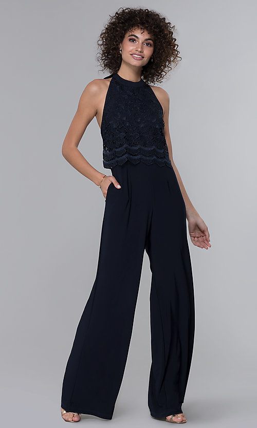 Image of halter-style navy blue jumpsuit for wedding guests. Style: JU-MA-261315a Front Image