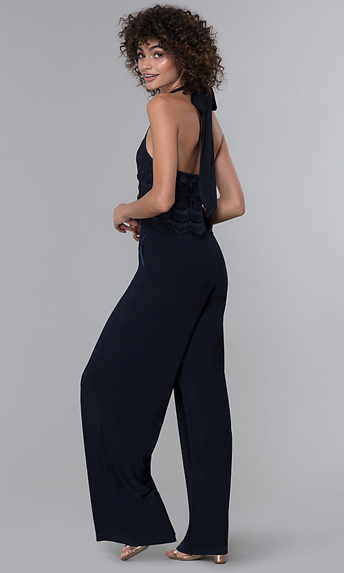 Image of halter-style navy blue jumpsuit for wedding guests. Style: JU-MA-261315a Back Image