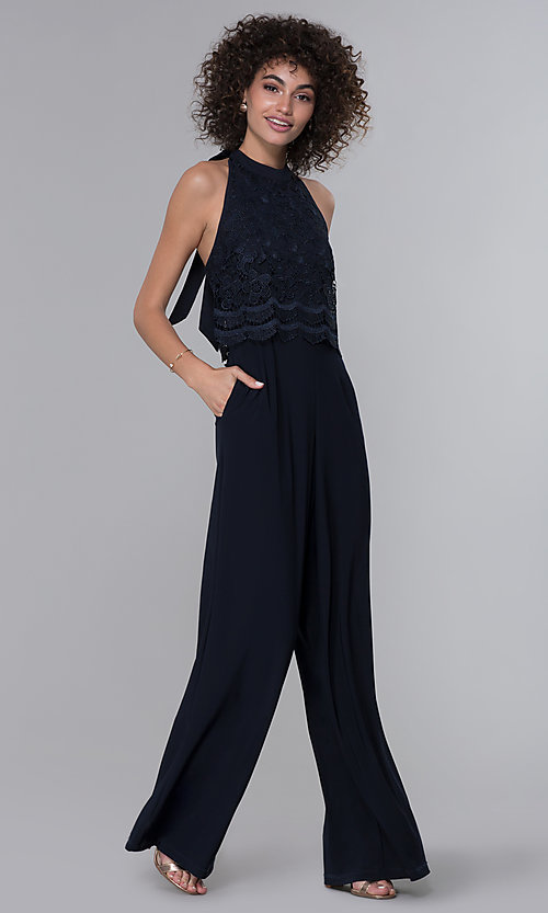 Image of halter-style navy blue jumpsuit for wedding guests. Style: JU-MA-261315a Detail Image 3