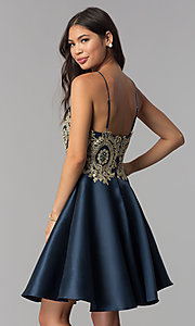 Image of high-neck knee-length homecoming dress with stones. Style: TE-3094 Back Image
