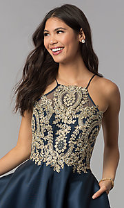 Image of high-neck knee-length homecoming dress with stones. Style: TE-3094 Detail Image 1