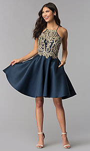 Image of high-neck knee-length homecoming dress with stones. Style: TE-3094 Detail Image 2