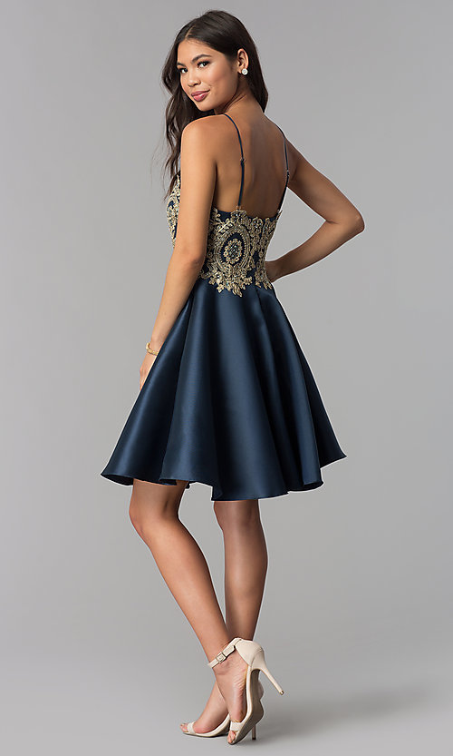 Image of high-neck knee-length homecoming dress with stones. Style: TE-3094 Detail Image 3