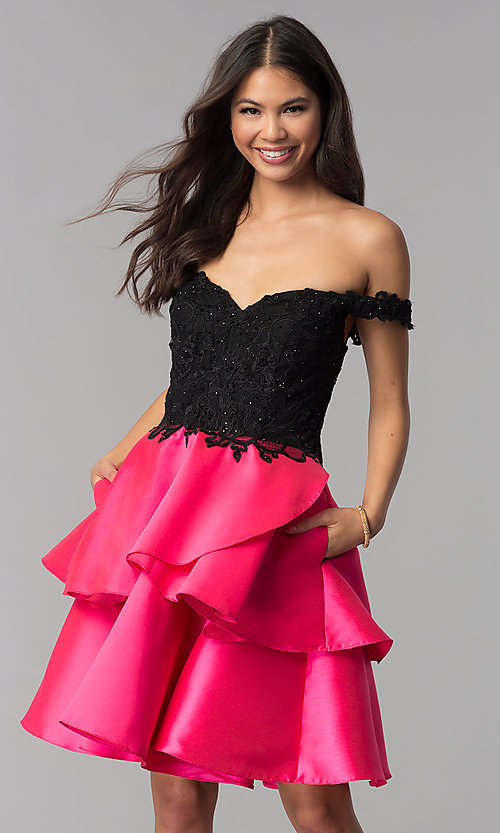 Image of off-the-shoulder short tiered-skirt homecoming dress. Style: TE-T3026 Front Image