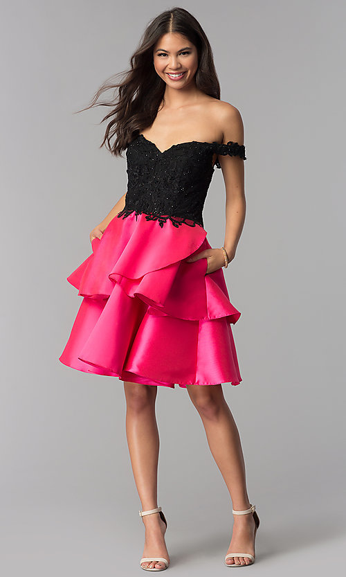 Image of off-the-shoulder short tiered-skirt homecoming dress. Style: TE-T3026 Detail Image 3