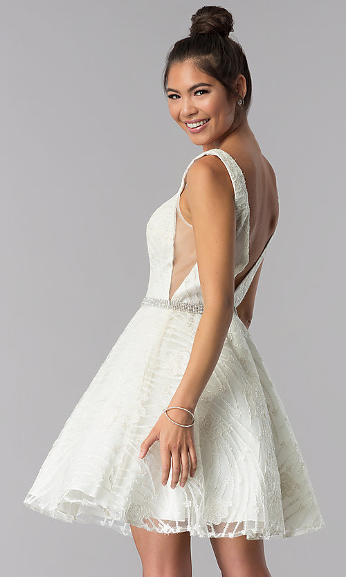 Image of v-neck short ivory embroidered homecoming dress. Style: TE-3086 Back Image