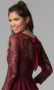Image of sleeved garnet red lace-bodice homecoming dress. Style: BD-Q72CK170 Detail Image 2