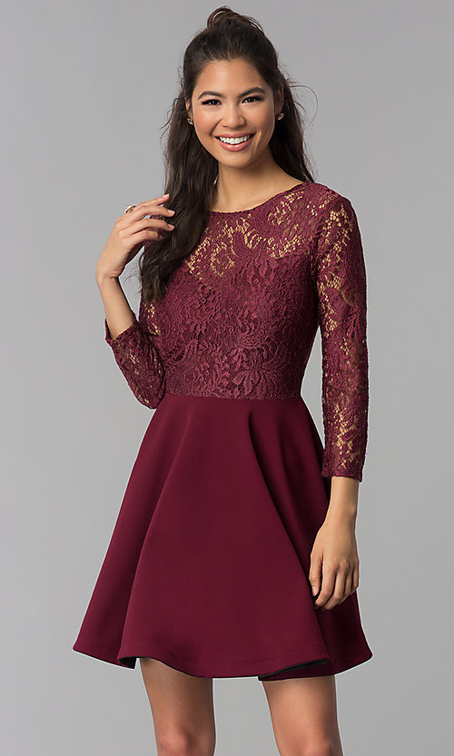 Image of sleeved garnet red lace-bodice homecoming dress. Style: BD-Q72CK170 Front Image