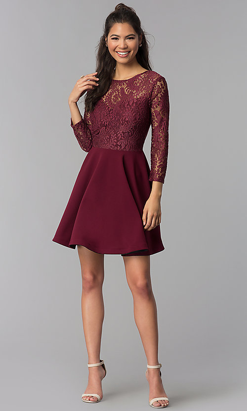 Image of sleeved garnet red lace-bodice homecoming dress. Style: BD-Q72CK170 Detail Image 3
