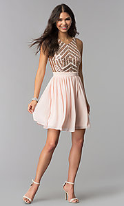 Image of sleeveless short rose gold homecoming dress. Style: MCR-2555 Detail Image 3