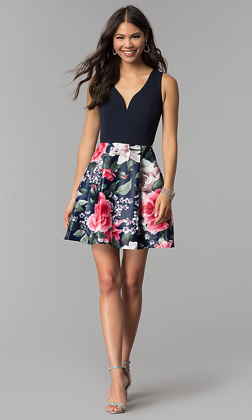 Image of sleeveless short homecoming dress with print skirt. Style: MCR-1995 Detail Image 2