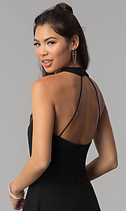 Image of high-neck a-line short black homecoming dress. Style: MCR-1970 Detail Image 2
