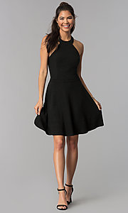 Image of high-neck a-line short black homecoming dress. Style: MCR-1970 Detail Image 3