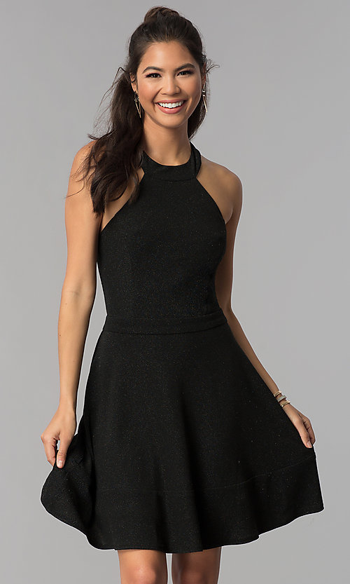 Image of high-neck a-line short black homecoming dress. Style: MCR-1970 Front Image