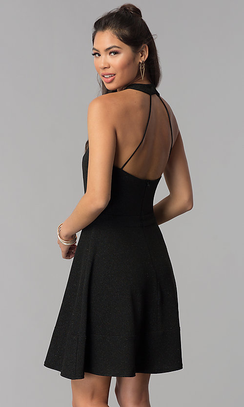 Image of high-neck a-line short black homecoming dress. Style: MCR-1970 Back Image
