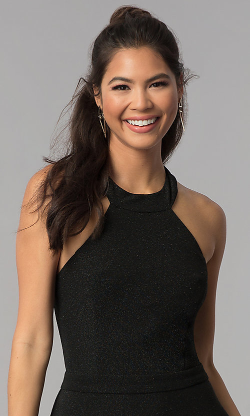 Image of high-neck a-line short black homecoming dress. Style: MCR-1970 Detail Image 1