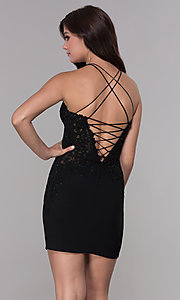 Image of bodycon short embroidered-bodice homecoming dress. Style: NA-A628 Back Image