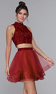 Image of high-neck two-piece tulle hoco dress by PromGirl. Style: DQ-PL-3042 Detail Image 1