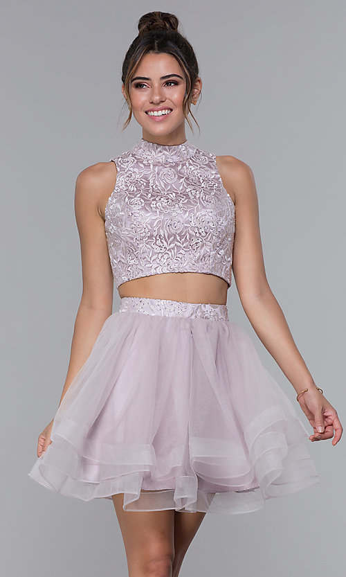 Image of high-neck two-piece tulle hoco dress by PromGirl. Style: DQ-PL-3042 Front Image