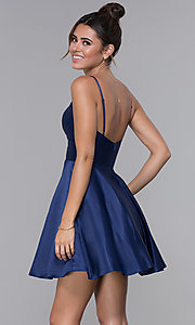 Image of cross-pleated-bodice homecoming dress by PromGirl. Style: DQ-PL-3059 Back Image