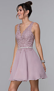 Image of a-line chiffon short homecoming dress by PromGirl. Style: DQ-PL-3011 Front Image