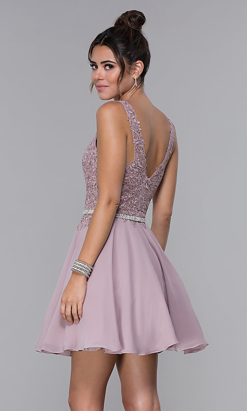 Image of a-line chiffon short homecoming dress by PromGirl. Style: DQ-PL-3011 Back Image