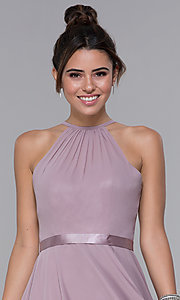 Image of chiffon high-neck short homecoming dress by PromGirl. Style: DQ-PL-3013 Detail Image 1
