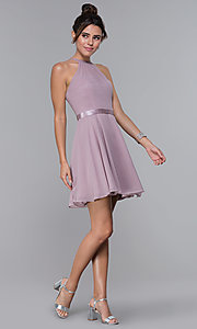 Image of chiffon high-neck short homecoming dress by PromGirl. Style: DQ-PL-3013 Detail Image 3