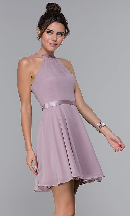 Image of chiffon high-neck short homecoming dress by PromGirl. Style: DQ-PL-3013 Front Image