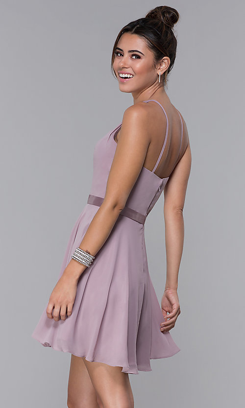 Image of chiffon high-neck short homecoming dress by PromGirl. Style: DQ-PL-3013 Back Image