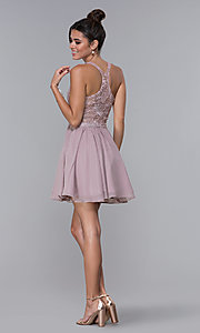 Image of short mocha lace-bodice homecoming dress by PromGirl. Style: DQ-PL-3044 Detail Image 4