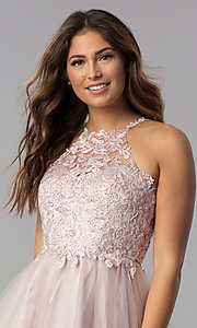 Image of short lace-applique-bodice homecoming dress. Style: DQ-3004 Detail Image 2