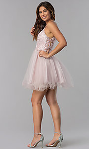 Image of short lace-applique-bodice homecoming dress. Style: DQ-3004 Detail Image 6