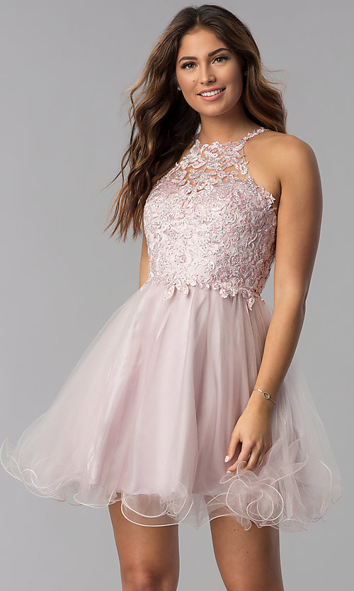 Image of short lace-applique-bodice homecoming dress. Style: DQ-3004 Front Image
