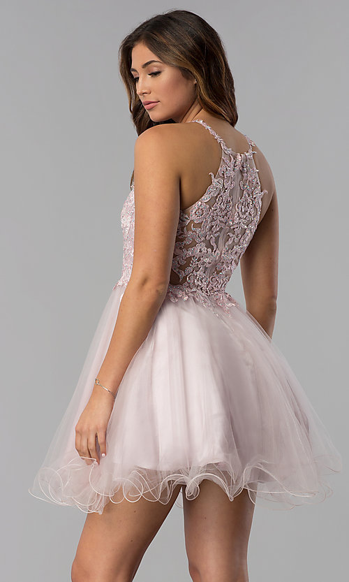 Image of short lace-applique-bodice homecoming dress. Style: DQ-3004 Back Image