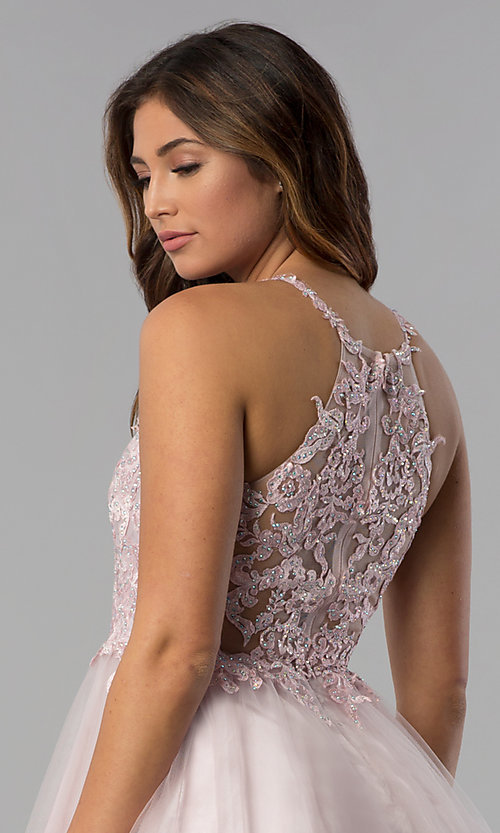 Image of short lace-applique-bodice homecoming dress. Style: DQ-3004 Detail Image 3