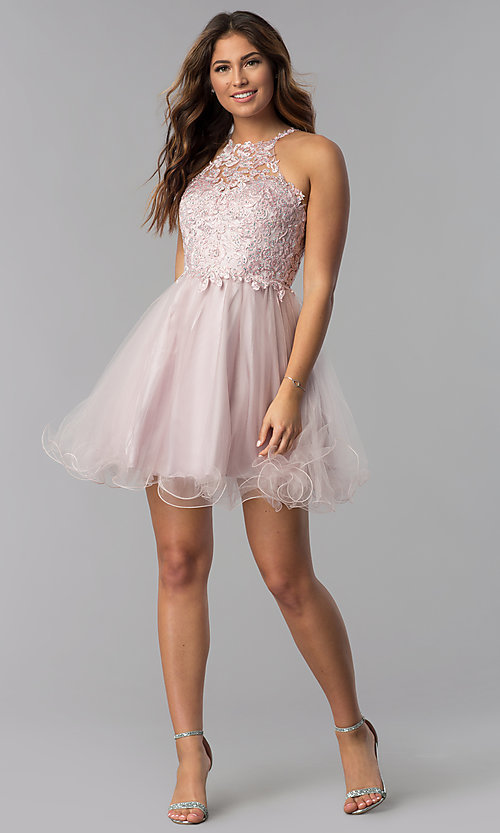 Image of short lace-applique-bodice homecoming dress. Style: DQ-3004 Detail Image 4