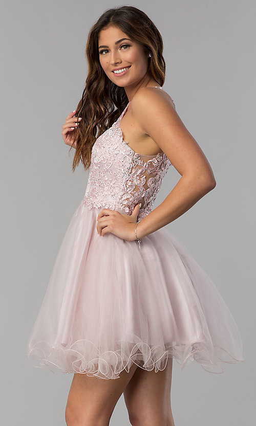 Image of short lace-applique-bodice homecoming dress. Style: DQ-3004 Detail Image 1
