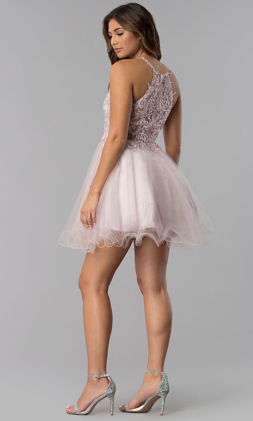 Image of short lace-applique-bodice homecoming dress. Style: DQ-3004 Detail Image 5